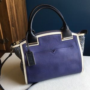 Vince Camuto blue leather bag, removable strap